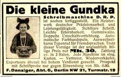 Original-Werbung/ Anzeige 1924 - DIE KLEINE GUNDKA SCHREIBMASCHINE / DANZIGER - BERLIN -  Ca. 65 X 45 Mm - Werbung
