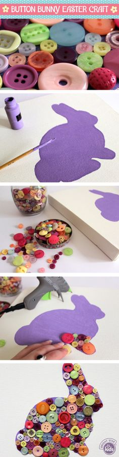 This gorgeous Button Bunny Easter Craft makes a cute and simple diy project for both adults and kids over this Easter season! Check it out here: http://www.blog.brightstarkids.com.au/button-bunny-easter-craft #easter #craft #bunny