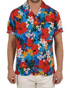 AMI Manches Printed Flower Short Sleeve Shirt Blue