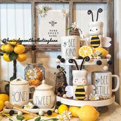 It's been awhile since I've come up with something for the Marshmallow Mugs. I'm loving lemons and bee decor for Spring, so we now have 🐝… Lemon Kitchen Decor, Kitchen Themes, Farmhouse Kitchen Decor, Spring Kitchen Decor, Kitchen Ideas, Tray Styling, Tiered Stand, Tray Decor, Seasonal Decor
