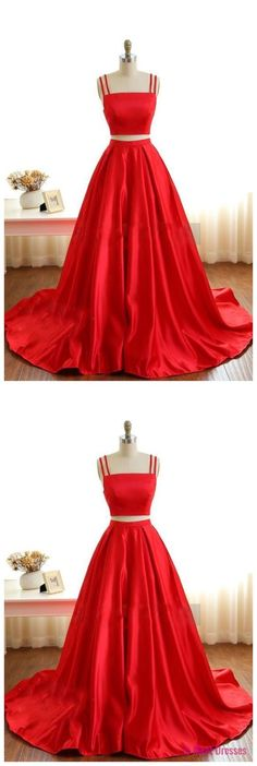 Two Piece Prom Dresses, Red Prom Dresses Long, Modest A-line Prom Dresses with Pockets, Elegant Prom Dresses Spaghetti Straps, Simple Prom Dresses Sleeveless #MillyBridal #twopiece #reddress #promdresses