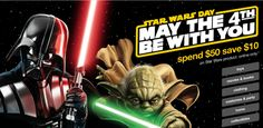 Spend $50.and save $10. on Star Wars Items today only