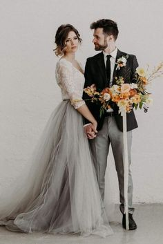 25 Edgy Bridal Separates That Inspire is part of Top wedding dresses Bridal separates are a hot trend, which is on and is sure to be on for a long time, and we can see a lot of crop tops all around - Bridal Skirts, Top Wedding Dresses, Wedding Dress Sleeves, Bridal Gowns, Tulle Wedding Skirt, Tomboy Wedding Dress, Wedding Dress Black, Colored Wedding Dresses, Edgy Wedding