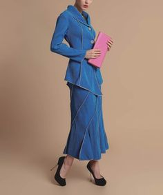 Love this Blue Asymmetrical Jacket & Skirt - Women & Plus by Jerry T Fashion on #zulily! #zulilyfinds