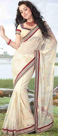 Light #Cream Net #Saree With #Blouse @ $128.27 | Shop Here: http://www.utsavfashion.com/store/sarees-large.aspx?icode=sry209a #netsaree #snapdeal #India