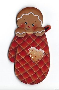 HP GINGERBREAD in an Oven Mitt (Red) FRIDGE MAGNET