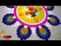 In this video, you will see how to make a rangoli design for Diwali with colors.Easy and colorful Diwali special Rangoli designs I hope you like it! Housewarming Decorations, Diwali Decorations, Festival Decorations, Indian Rangoli, Diwali Rangoli, Diwali Special Rangoli Design, Rangoli Ideas, Beautiful Rangoli Designs, Simple Rangoli