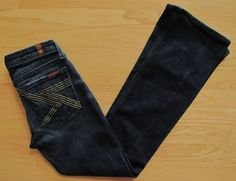 7 for all Mankind Jeans 28 Flynt Boot Cut NY Dark Gold lurex Stretch denim 30  #7ForAllMankind #BootCut