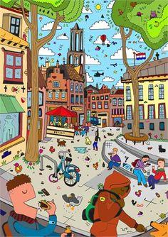 Dichtbij.nl - Illustraties met de Domstad als inspiratie door Jan Willem Campmans: Dom en Stadhuis