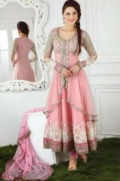 Isn't this Pink Colour Emboroidery Lace Border Anarkali Suit classy for wedding wear? http://ethnicstation.com/shop/women/salwaar-kameez/bridal/coloured-emboroidedry-lace-border-anarkali-suit.html