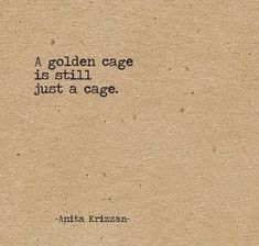 Life Quotes : QUOTATION - Image : Quotes Of the day - Description A golden cage is still just a cage. Sharing is Caring - Don't forget to share this quote Great Quotes, Quotes To Live By, Me Quotes, Inspirational Quotes, Bird Quotes, Qoutes, Irony Quotes, Sucess Quotes, Quotes Motivation