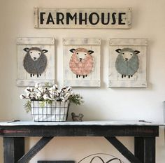 This listing is for one sheep painting. We also offer a three piece set (one sheep painting and two barn doors) here: https://www.etsy.com/listing/487612055/sheep-nursery-decor-3-pc-set-lamb?ref=shop_home_active_2  This sheep nursery decor is the perfect modern farmhouse touch for any nursery--above the crib, changing table or anywhere! It measures 18 high and 14 wide. The sheep is painted on to a wood slat canvas and then outlined and strung with jute. The piece...