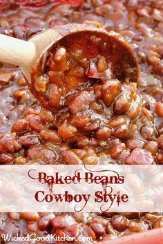 Nothing says potluck quite like baked beans! Baked Beans Cowboy by wickedgoodkitchen.com