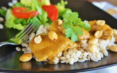EASY Slow Cooker (crock-pot) Thai Chicken with Peanut-Curry Sauce