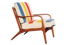 Sit & Read mid-century modern vintage blanket-upholstered armchair