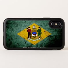 Black Grunge Delaware State Flag OtterBox Symmetry iPhone X Case - wood gifts ideas diy cyo natural