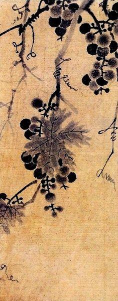 (Korea) Grapes by Lady Shin Saimdang color on paper. Korean Painting, Chinese Painting, Chinese Art, Korean Traditional, Traditional Art, Asian Artwork, Plant Painting, Water Art, Korean Art