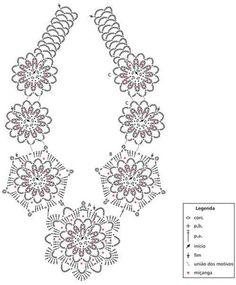 Bildergebnis für collares tejidos a gancho Crochet Necklace Pattern, Crochet Jewelry Patterns, Crochet Doily Diagram, Crochet Diy, Crochet Motifs, Crochet Chart, Crochet Accessories, Beading Patterns, Crochet Earrings