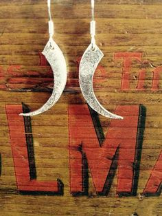 Silver Curved Spike Earrings