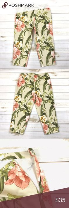 """Tommy Bahama Stretch Khaki Capri Cropped Pants Tommy Bahama W560 Womens Sz 10 Beige Floral Stretch Khaki Capri Cropped Pants  New and unworn. Excellent condition. Size - 10 Color - Beige Material - 98% Cotton, 2% Lycra Spandex Style - Capris, Cropped Theme - Hawaiian Inseam - 21"""" Tommy Bahama Pants Capris"""
