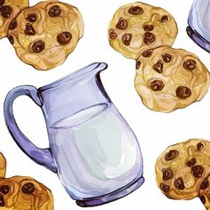 """213 Likes, 4 Comments - Laura Manfre (@laura_manfre) on Instagram: """"Little preview of new pattern, milk & cookies  #illustration #watercolours"""""""