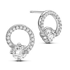 SWEETIEE&reg Awesome Micro Pave Zirconia 925 Sterling Silver Ring Ear Studs, with White AAA Cubic Zirconia, PlatinumPSize: about 10mm wide, 13mm long, pin: 0.8mm.