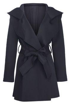 $170.99 Romwe: Slim Hooded Black Trench Coat