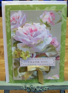Handmade Thank You Card   Anna Griffin Design and Supplies   Vintage Look Roses Floral