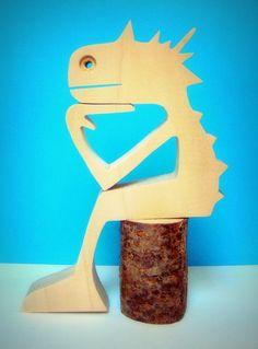 """sculpture bois chantourné """"le mec il est assis et il attend"""" de la boutique 2virgule5d sur Etsy"""
