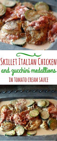 Creamy Italian Chicken And Zucchini Skillet with Tomato Cream Sauce |www.blackberrybabe.com| Recipes