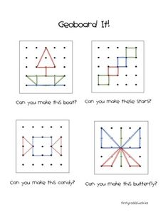 GeoBoard It! A Fun Math and Geometry Station by First and Kinder Blue SKies Dyslexia Activities, Teaching Activities, Math Resources, Math Teacher, Math Classroom, Kindergarten Math, Fun Math, Math Games, Geo Board