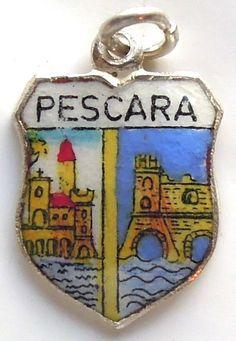 Pescara Italy - Castle - Vintage Silver Enamel Travel Shield Charm