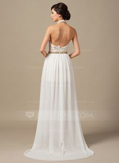 A-Line/Princess Halter Court Train Chiffon Lace Prom Dress With Beading (018064198)