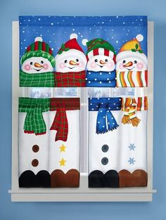 Collections Etc - Winter Pals Snowman Cafe Curtain Set Christmas Bows, Christmas Snowman, Christmas Holidays, Christmas Crafts, Christmas Decorations, Holiday Decor, Christmas Stocking, Christmas Stuff, Christmas Greetings