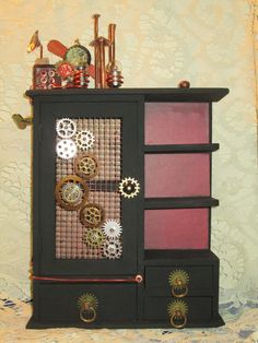 Steampunk Cabinet by PollonAlterations http://youtu.be/suSbyRBnZw4 https://www.facebook.com/PollonAlterations