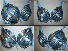 Hey, I found this really awesome Etsy listing at https://www.etsy.com/listing/197889080/studded-snake-skin-blue-rave-bra