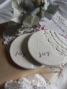 gift tags roll salt dough with fabric / doilies