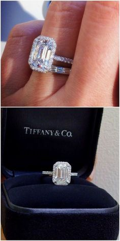 Tiffany & Co. 2.5 ct Soleste Emerald Cut Platinum Diamond Engagement Ring #diamondengagementring #DazzlingDiamondEngagementRings