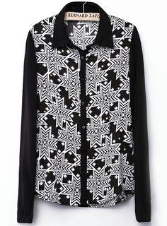 Black Lapel Long Sleeve Geometric Print Blouse US$25.90