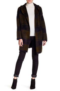 Hooded Plaid Cardigan