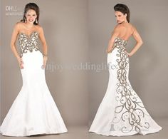 Wholesale 2013 Sexy White Sweetheart Taffeta Mermaid Prom Dress Beaded Sequins Evening Gown 6727, Free shipping, $171.59/Piece | DHgate