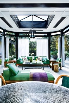 House tour: a Melbourne family home where maximalism reigns supreme: In summer, the living area flows into an outdoor pavilion, furnished with Minotti Lifescape chaise longues and chairs, from Dedece.