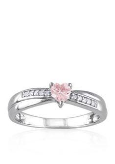 Belk  Co.  Sterling Silver Morganite and Diamond Heart Ring