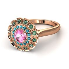 Round Pink Sapphire 14K Rose Gold Ring with London Blue Topaz  Alexandrite - Jessamine Ring | Gemvara
