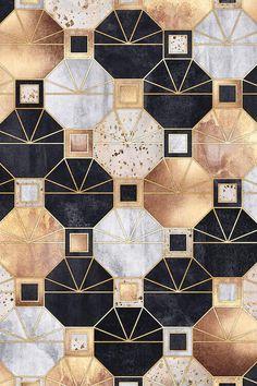 Art Deco Octagons Canvas Print by Elisabeth Fredriksson - Art Deco Art Deco Print, Art Deco Design, Colores Art Deco, Ciel Art, Pinturas Art Deco, Art Deco Table, Bronze Art, Muebles Art Deco, French Art Deco