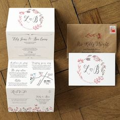 'Summer Meadow' wedding invitation inspired by the great British summer, wild flowers, berries & hedgerows. Featuring a delicate wreath illustration and hand-lettered calligraphy.