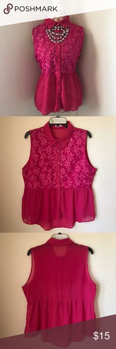 PLUS Pink Peplum Plus size - beautiful pink peplum style button up - embroidered chiffon bust Fashion Exit USA Tops Blouses