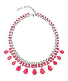 Loving this Neon Pink & Silver Teardrop Necklace on #zulily! #zulilyfinds