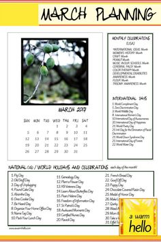 Come by and download a free 1-page Planning Calendar with a list of all the great holidays happening this month! #editorialcontent #MarchCalendar
