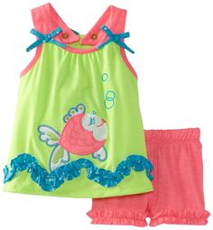 Amazon.com: Rare Editions Baby Baby-Girls Newborn Short Set, Lime/Pink, 6 Months: Infant And Toddler Shorts Clothing Sets: Clothing